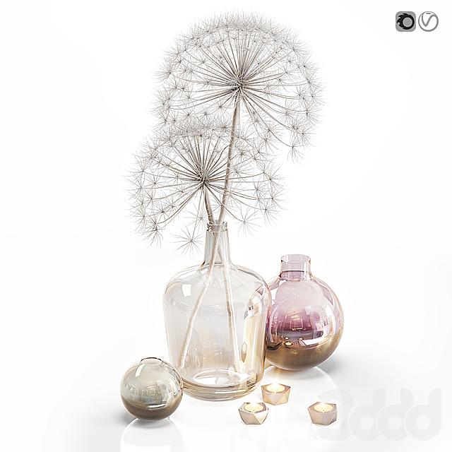 Decor set 13 Heracleum plant white