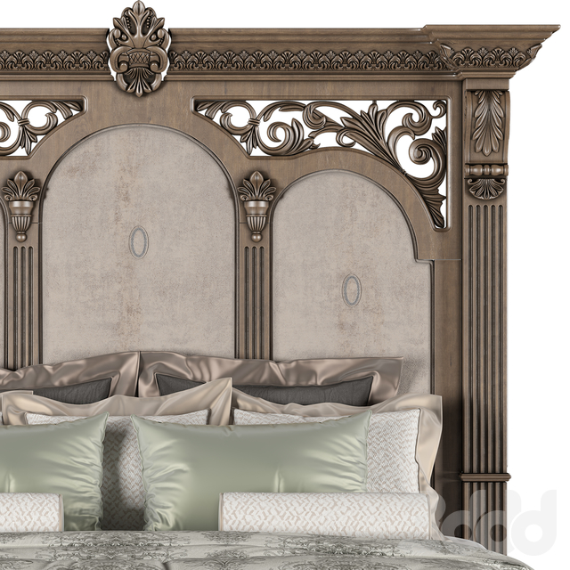 AICO FURNITURE VILLA DI COMO STORAGE BED HERITAGE FINISH (CALIFORNIA KING SIZE) (VRAY & CORONA)