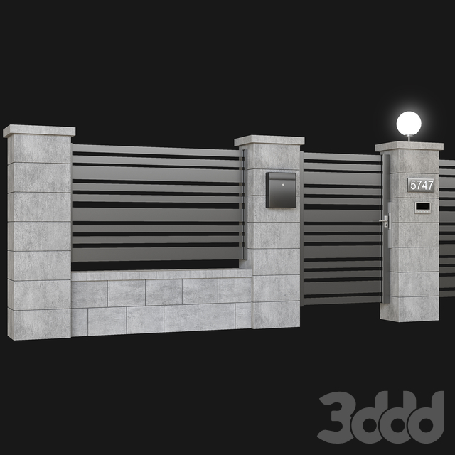 Fence with gate and intercom