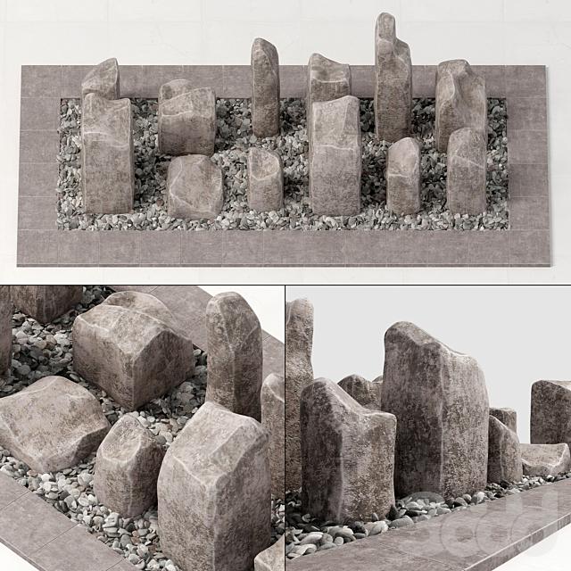 Square stone block pebble fundament n1 / Площадь из каменных блоков с галькой