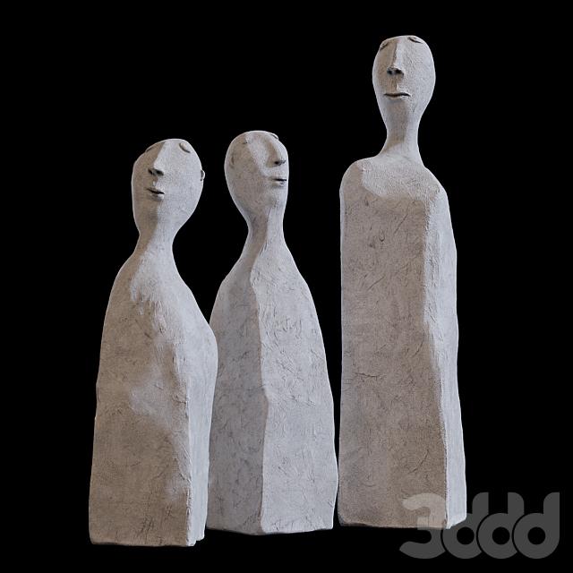 Человек - скульптура из цемента