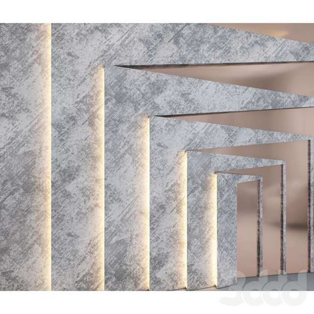 Grey decorative wall panel with gold metal