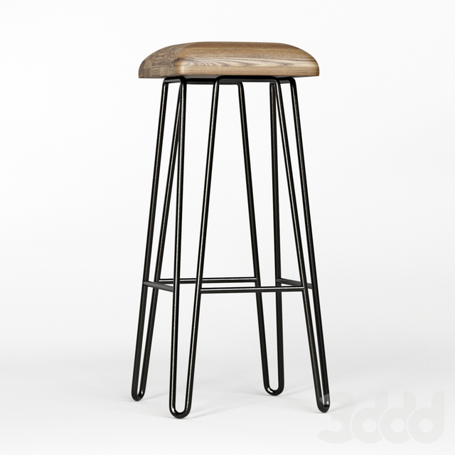 Wood Top Iron Bar Stool