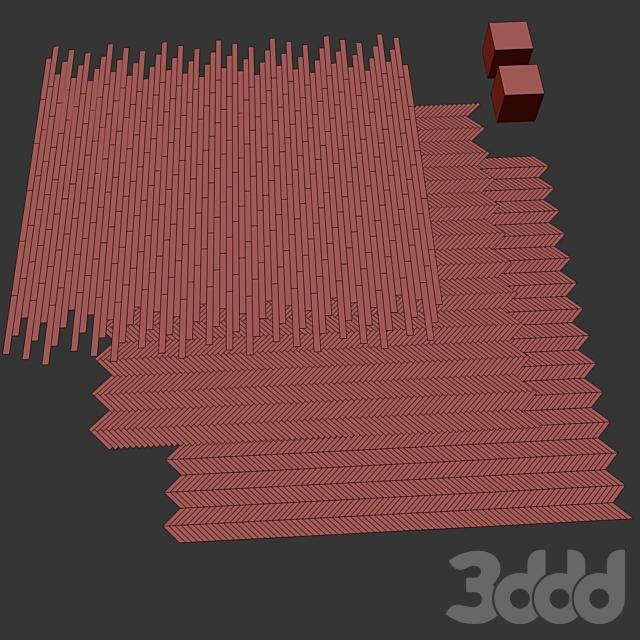 Паркет Дуб 2 вида раскладка ёлочка, шеврон и линейная setduo25