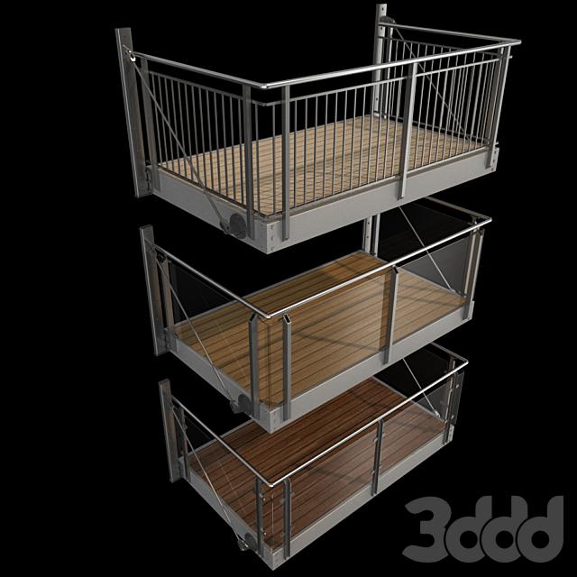 Металлический балкон (3 вида консольных балконов)