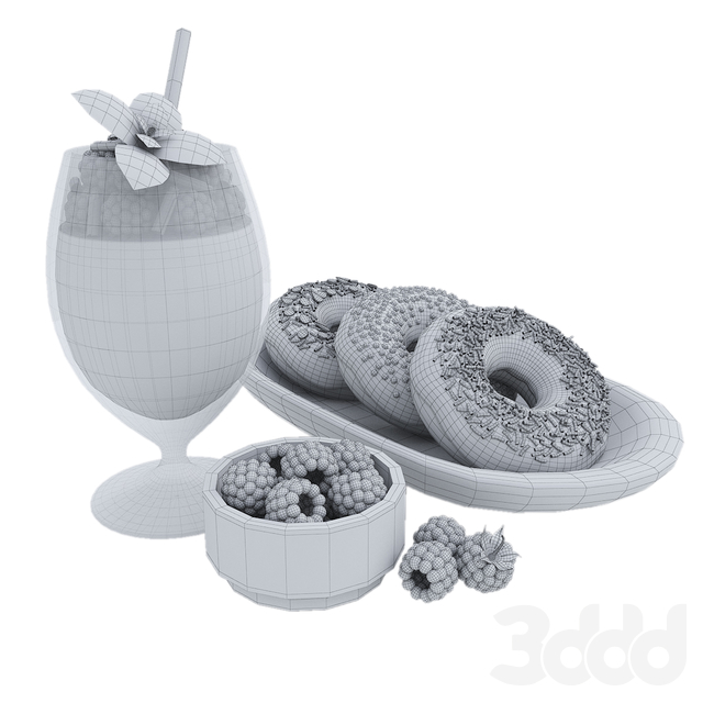Raspberry milkshake & donuts