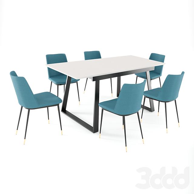 Обеденный стол Детройт + стул Мелисса
