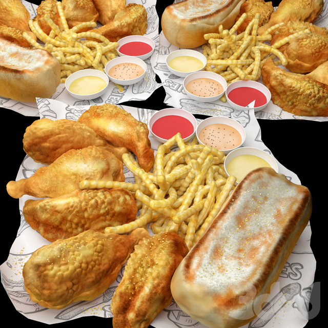 Fastfood Fried Chicken Set