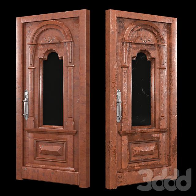 Aged and mocha wooden door