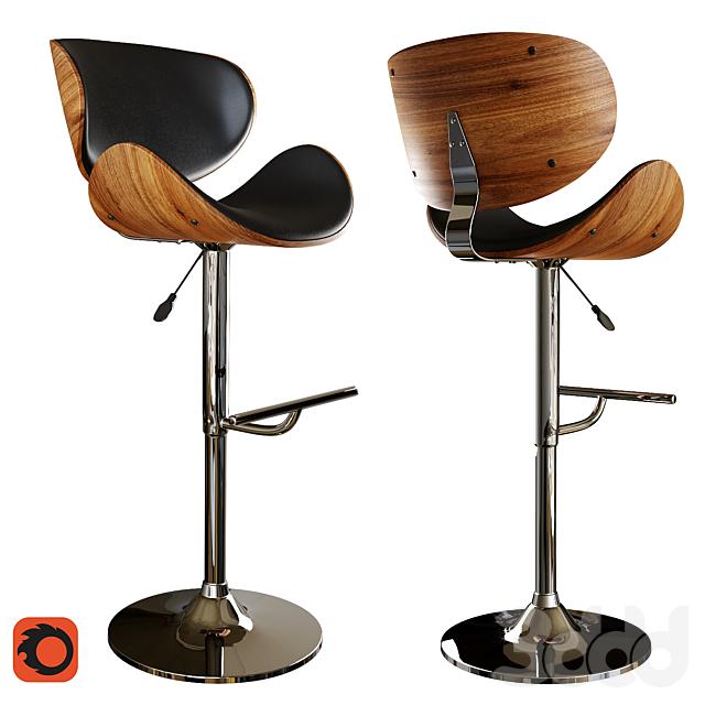 Поворотный барный стул из искусственной кожи черный ROTTERDAM